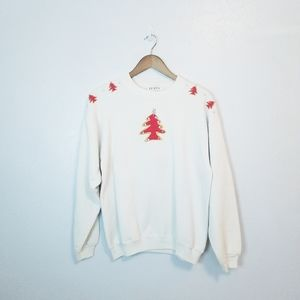 Vintage Christmas sweatshirt white red gold trees